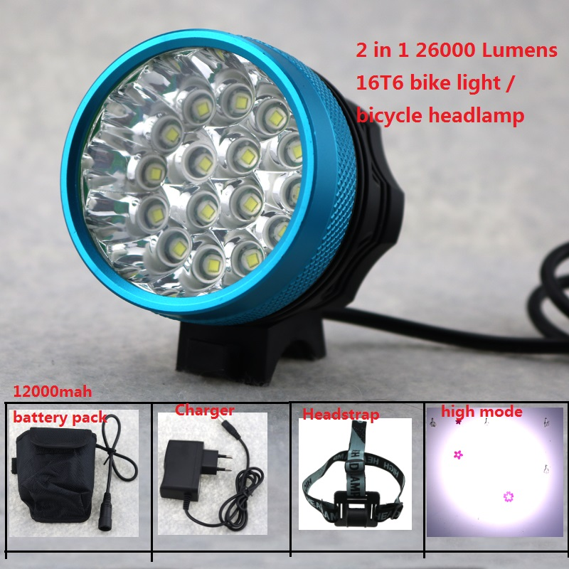 Rechargeable Bike Light 26000LM 16xCree XML T6 Cycling Led Headlight Flashlight Bicycle Accessories + 8.4V 18650 Battery Pack cree xm l t6 bicycle light 6000lumens bike light 7modes torch zoomable led flashlight 18650 battery charger bicycle clip