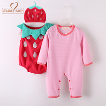 NYAN Halloween Baby Costume Pumpkin Strawberry Clothing Set 3pcs Hat+Romper+Bodysuit  Infant Toddler Boys Girls Clothes Retail 00eec77be454
