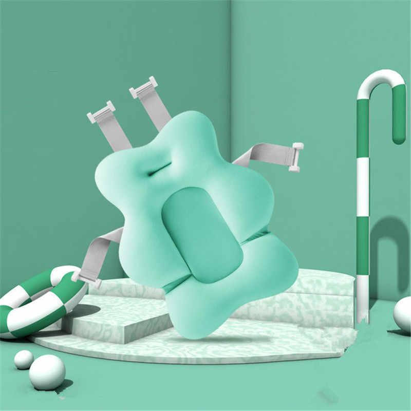 Cojín de aire portátil para recién nacido, almohadilla de baño para bebé, Alfombra de bañera antideslizante, almohada de apoyo para asiento de baño de seguridad plegable