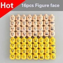 16 pçs/saco Face Figura Set Cabeça Do Sexo Feminino ou Masculino Coringa MOC Acessórios Modelo de Blocos de Construção Tijolos Brinquedos para Crianças