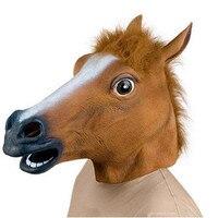 不気味な馬の頭部マスクラテックスアニマルコスチュームプロップおもちゃパーティーハロウィンイベントお祝い用品マスク