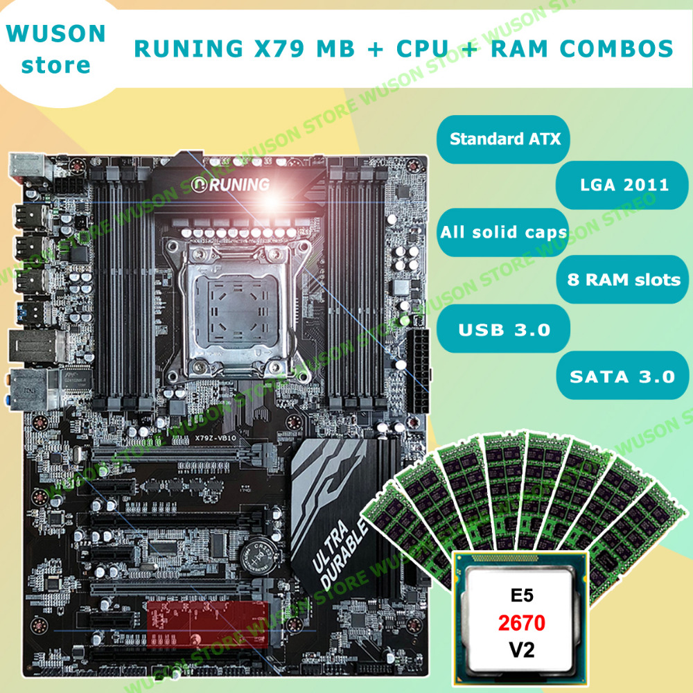 Runing Super X79 Gaming Motherboard Set Support Max 8*16G 1866 Memory Processor Intel Xeon E5 2670 V2 2.5GHz 32G(8*4G) DDR3 RECC