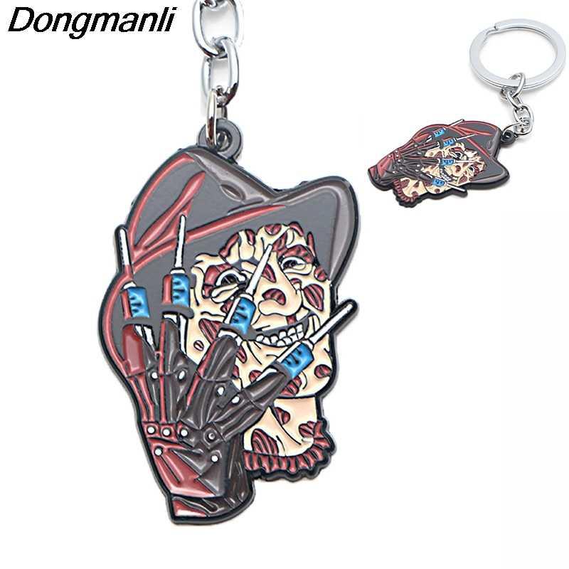 P3791 Dongmanli A Nightmare on Elm Street Freddy Chave Titular Bonito Presentes Anéis de Esmalte de Metal Pingente Chaveiro Para Chave Do Carro