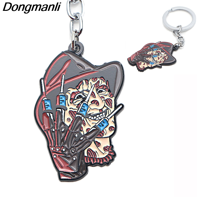 P3791 Dongmanli A Nightmare on Elm Street Freddy Key Holder Cute Enamel Metal Pendant Car Keychain For Key Rings Gifts in Key Chains from Jewelry Accessories