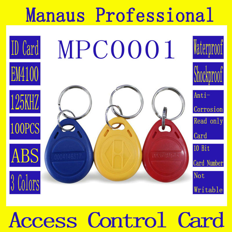 High Quality 100PCS RFID 125KHZ Chip Tag Proximity Access Control Card ID Keyfob Token ABS Texture key Ring Card C01C