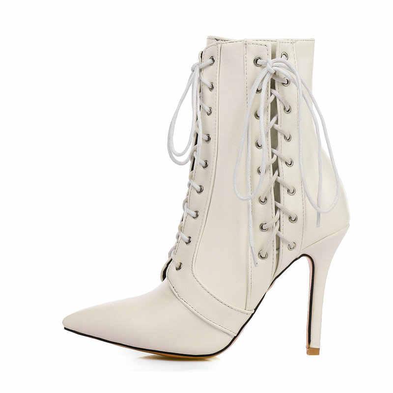NEMAONE Yeni lace up yüksek topuklu bayanlar yarım çizmeler kadın düğün parti elbise ayakkabı İlkbahar sonbahar kadın çizmeler büyük boy 43