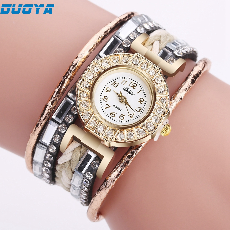 Duoya Brand Watch Women Luxury Gold Gemstone Dress Watches Women Gold Bracelet Watch Female Leather Quartz Wristwatches s20