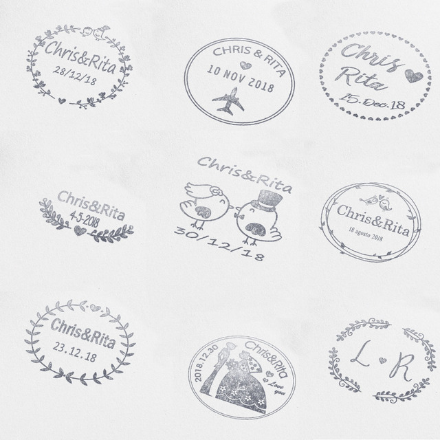 40mm Personalized Custom Self Inking Wedding Stamp Business Family Return Address Round Nitials Name