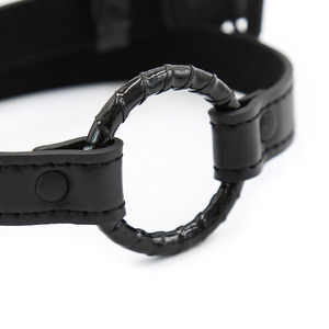 Image 4 - Black Sex Open Mouth Gag Harness Bdsm Bondage Leather Strap O Ring Gag Mouth Flirting Sex Toys For Woman Couples Adult Games
