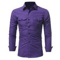 Brand 2017 Fashion Male Shirt Long Sleeves Tops Classic Double Pocket Mens Dress Shirts Slim Men