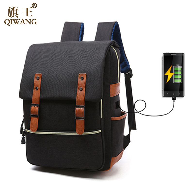 Qi Wang Vintage Canvas Backpack for men women USB charging Unisex Students Backpacks Laptop Computer Bags for School Mochila qi wireless charger charging receiver transparent cover