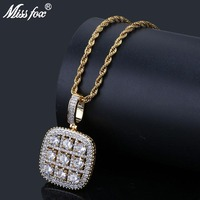 MISSFOX Hip Hop Vintage SuDoku Iced Out Pendant 24K Gold Plated High Quality Cubic Zirconia Fashion Ukraine Rope Nacklace Chain