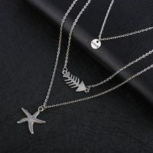 SUKI Multi-layer Starfish Fish Love Round Pendant Necklace Summer Beach Bohemian Long Clavicle Chain Necklaces for Women Jewelry