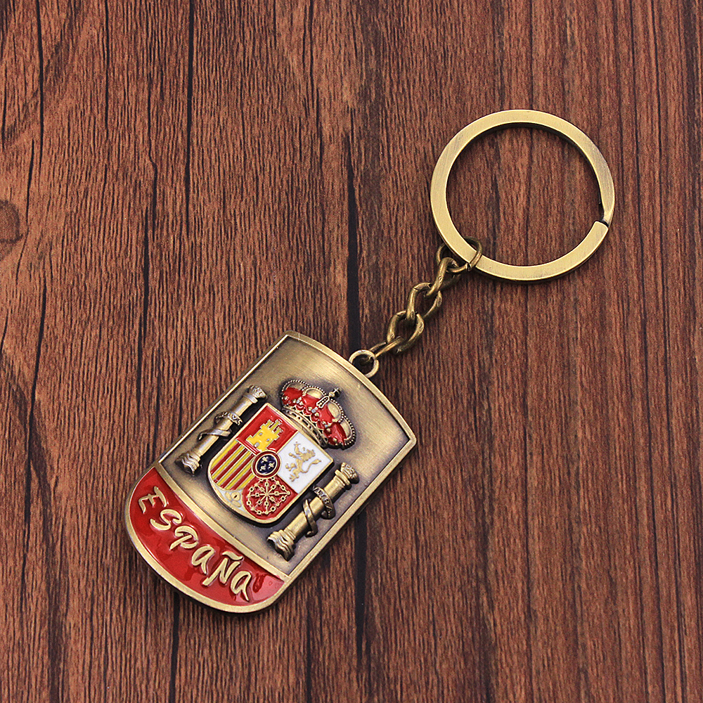 Vicney Newest National Emblem Of Spain Key Chain Arc-Shaped Retro Keychain For Men Antique Bronze Vintage Key Charm For Friend
