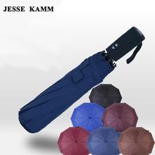 JESSE KAMM Large Big For Women Men Umbrella Oversized folding double three fold umbrella male dual fully-automatic schoolgirl