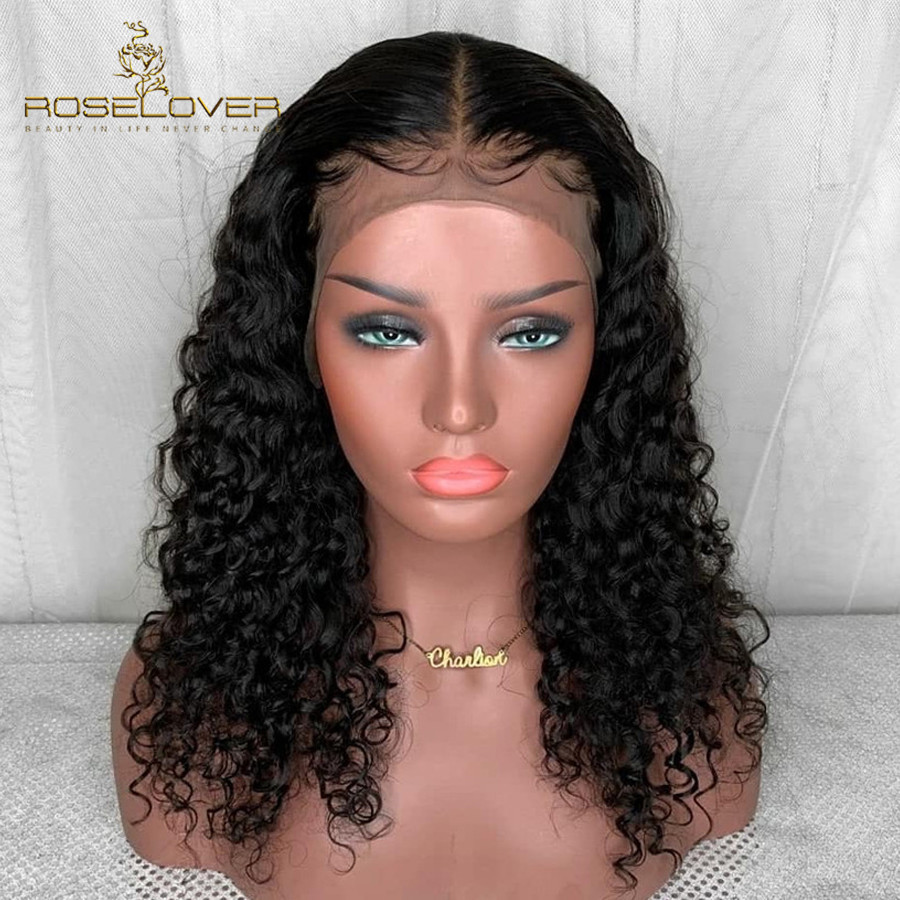 Curly 360 Lace Frontal Human Hair Wigs for Black Women Peruvian Remy Lace Front Wigs with