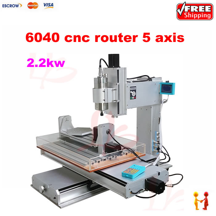 High performance 5 axis cnc milling machine 2.2KW 6040 cnc router carving machine with 2.2KW + water sink for metal woodwork cnc router wood milling machine cnc 3040z vfd800w 3axis usb for wood working with ball screw