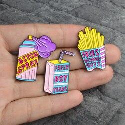 Cartoon Big Fries Before Guys Fresh Boy Tears Drink Box BITCH SPRAY Cute Alloy Brooch Metal Badges Hat Shirts Lapel Enamel Pin