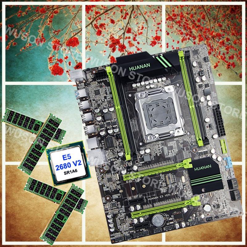 Marca nueva HUANAN ZHI X79 descuento Placa base con M.2 ranura procesador Xeon E5 2680 V2 2,8 GHz SR1A6 RAM 32G (4*8g) DDR3 1600 RECC