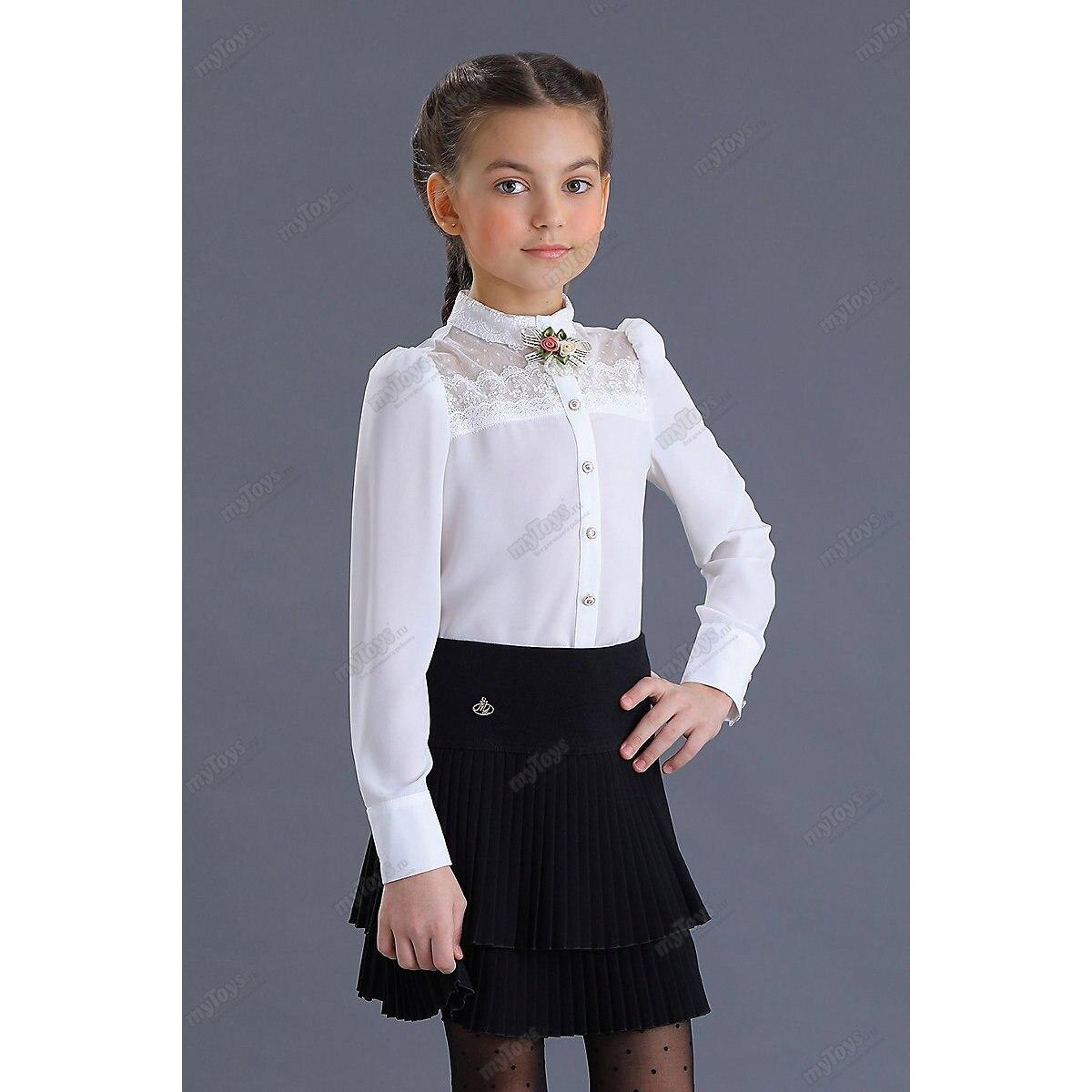 Malenkaya Lady Blouses & Shirts 11685811 blouse for girl school  clothes jacket wardrobe childrens shirt White Blue Girls Turn-down Collar