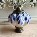 Vintage Pumpkin Style Ceramic Cabinet Door knobs Drawer Pull Dresser Knob Handle Hand Painted Blue Knob
