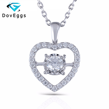 Moissanite Pendant 14K 585 White Gold 0.5ct Lab Grown Moissanite Diamond Necklace with Complimentary Chain For Women