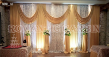 3M*6M Gold wedding backdrop with silver sequin swag wedding decoration