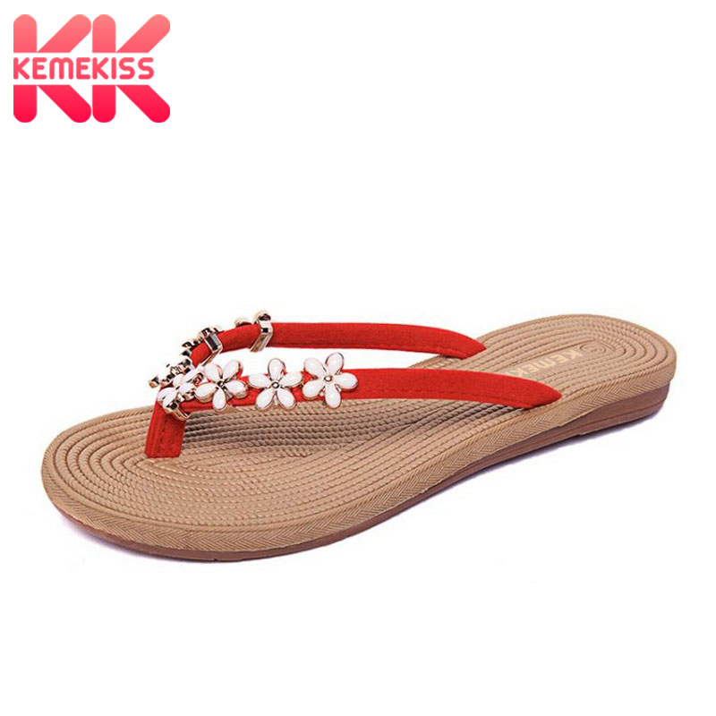 KemeKiss4 Colors Women Vacation Flats Sandals Flower Flip Flops Slippers Women Summer Beach Shoes Women Sandals  Size 35-41