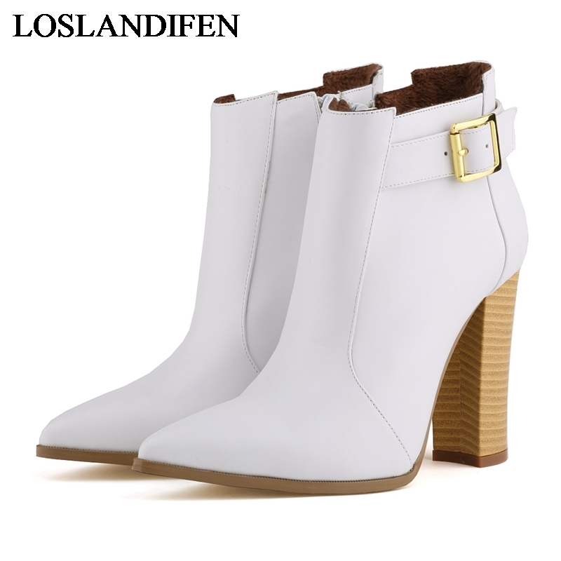Womens Sexy Square High Heel Pointed Toe Ankle Boots Brand Designer 10cm Soft Leather Short Booties Shoes For Women NLK-B0104