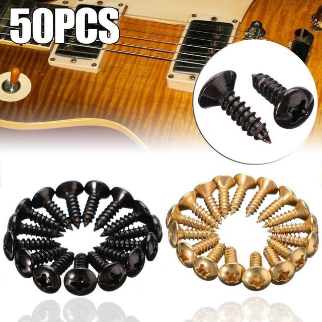 50 יח'\סט זהב שחור כסף חשמלי גיטרה בס Pickguard כיסוי צלחת ברגים עבור גיטרה בס מתכת קבוע בורג סיטונאי
