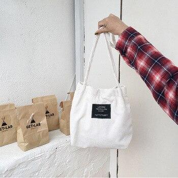 Women Corduroy Canvas Bag Female Pure Cotton Eco Cloth Crossbody Shoulder Bags Ladies Shopping Bag Pink Handbag Totes For Girls Shoulder Bags