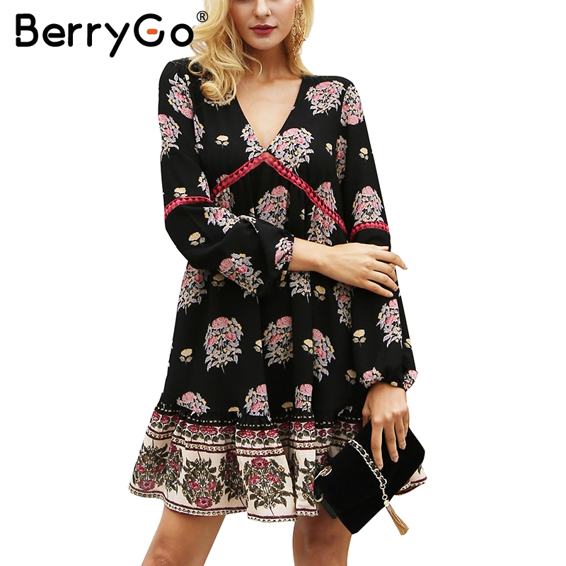 BerryGo Floral print ruffle chiffon dress women Long sleeve v neck winter dress Hollow out robe femme vestidos autumn dress floral chiffon dress long sleeve