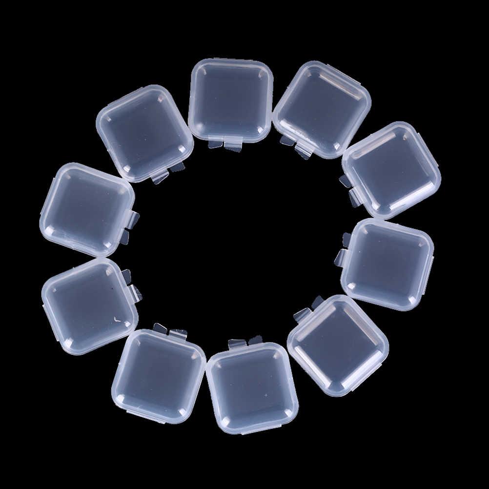 1/10/20/50Pcs Mini Clear Plastic Box Jewelry Earplugs Storage Box Case Container Bead Makeup Clear Organizer Gift
