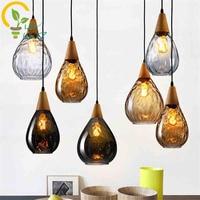 3 Colours Nordic Tears Home Lighting Retro Glass Pendant Lamp, Fashion E27 Wood Pendant Lights Restaurant Bar Hanging Lights