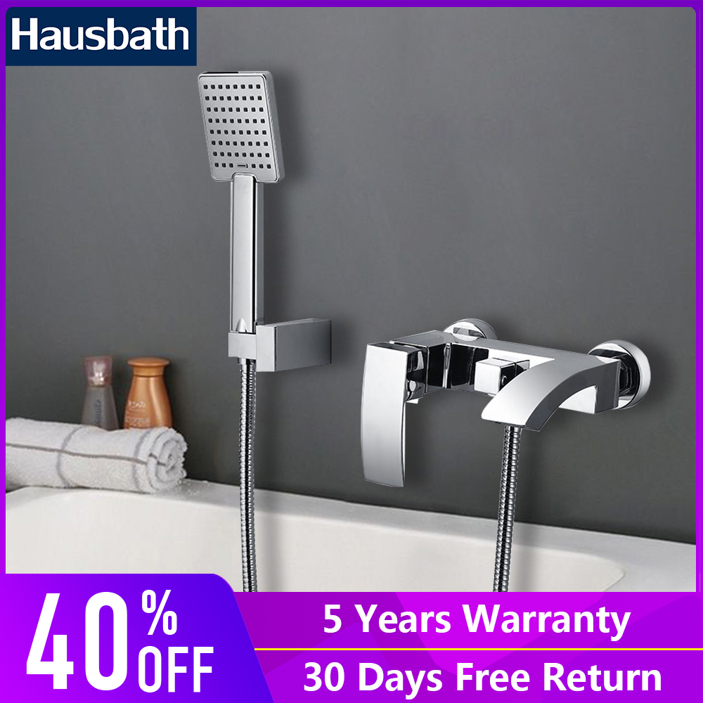 Hausbath Bathroom Shower System Faucet Chrome Finished Stainless Steel Single Handle Dual Hole Wall Mounted Mixer Tap