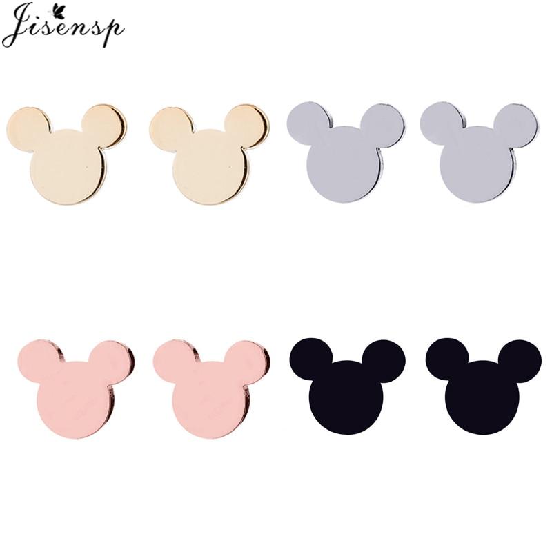 Jisensp Fashion Mickey Stainless Steel Stud Earrings Women Jewelry Cartoon Mouse Earing Small Animal Earings Girls Birthday Gift