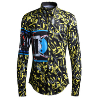 Europe Original Design Chain Yellow Pattern Print Shirts Men Slim Long Sleeve Turn down Collar Shirt Fashion Streetwear 55 100KG