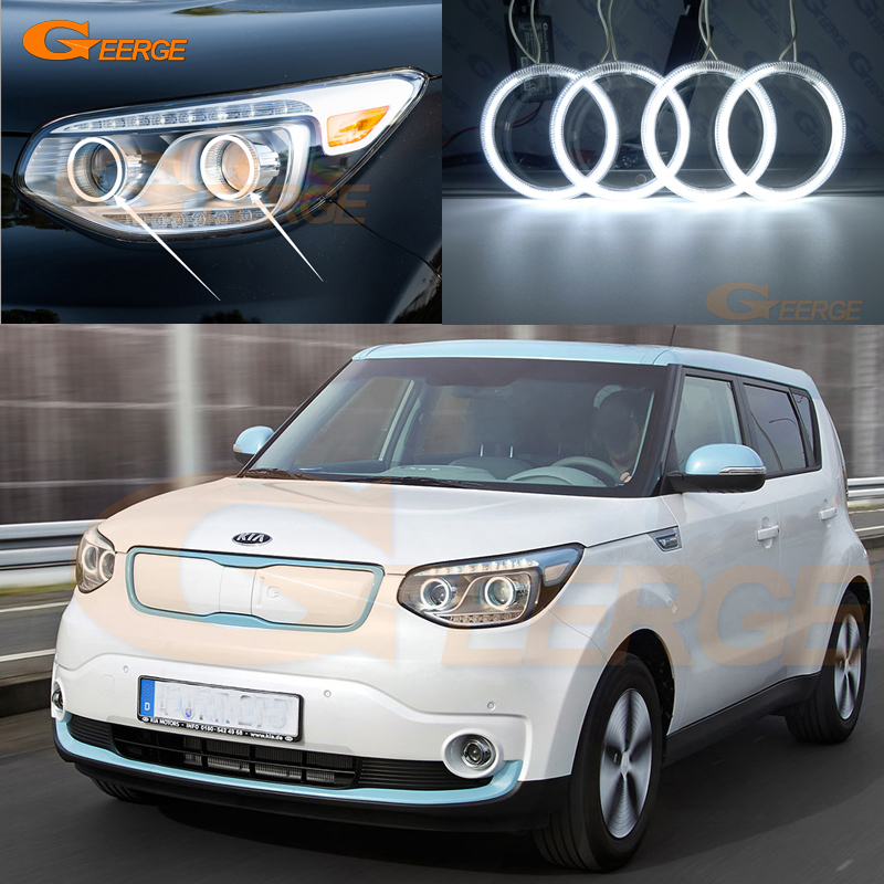 For Kia Soul EV 2015 2016 LED Halogen Headlight Excellent Angel Eyes Ultra bright illumination CCFL Angel Eyes kit Halo Ring купить недорого в Москве