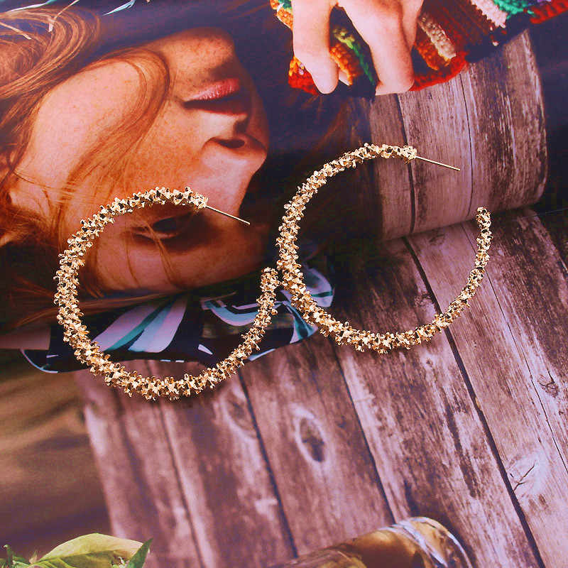 Boho Big Round Circle Hoop Earrings Women Gold Color Brincos Statement Bijoux Retro Female Jewelry Party Gift Wholesale