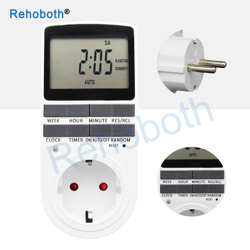 Electronic Digital Timer Switch EU Plug Kitchen Timer Outlet 230V 50HZ 7 Day 12 24 Hour Programmable Timing Socket in Timers from Tools