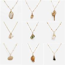 New Bohemian Conch Shell Necklace Gold Chain Women Seashell Choker Pendants Beach Jewelry Female