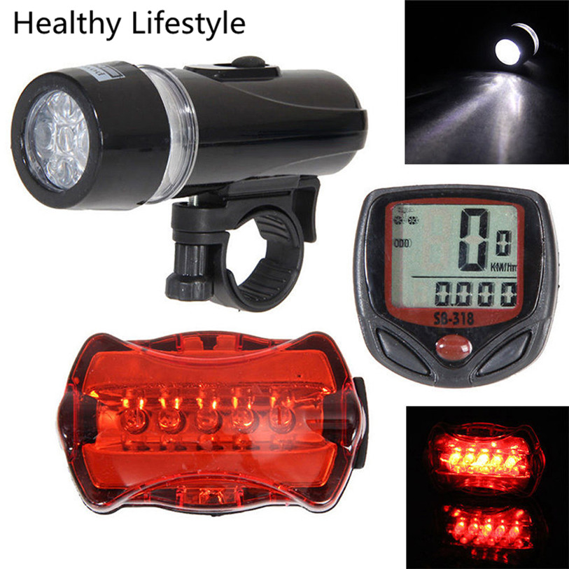 Portable Bicycle Speedometer + 5 LED Mountain Bike Cycling Light Head + Rear Lamp New Bicycle Lighting Accessories Hot WS&40