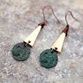 Retro glamour woman green Earrings Pendant Earrings long alloy free shipping
