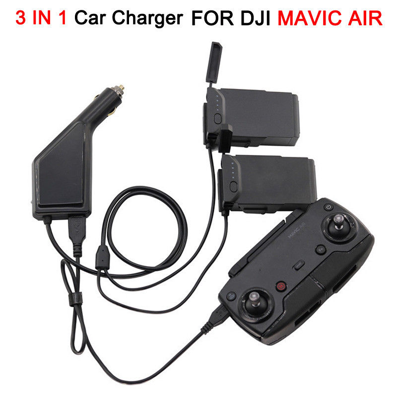 3 in 1 Car Charger Battery Charger for DJI MAVIC Air Parts Remote Control Charger USB Charging for RC Quadcopter battery