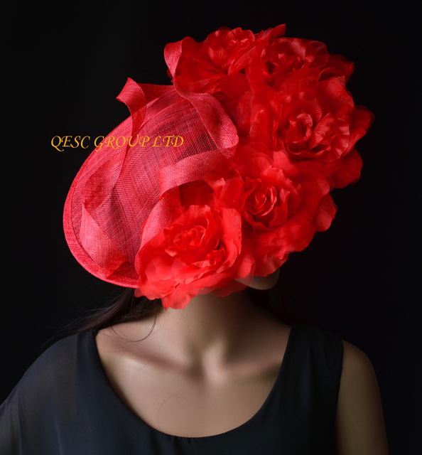 a02eff4759f NEW Red Large sinamay hat saucer fascinator Silk flower fascinator for  races