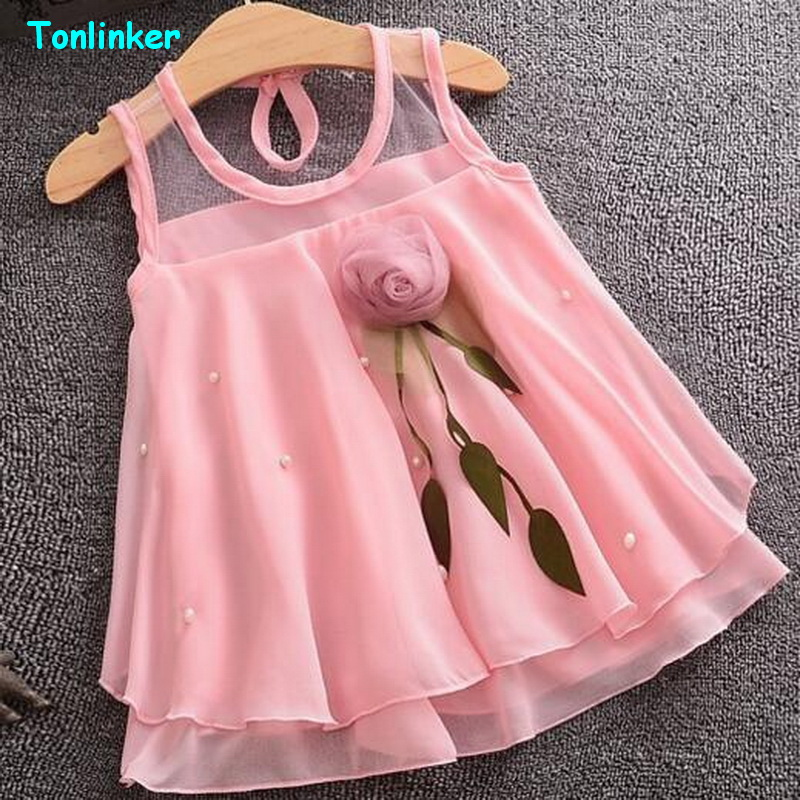 Tonlinker Baby Girls Dresses Summer Chiffon Flower Costume Infant 1 Year Birthday Dress Baby Girl Halloween Fancy Dress Clothes