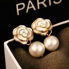 Trendy Style Camellia Flower Stud Earrings Pearl Flower Big Brand Eesign Earring Boucle d'oreille Femme Pendante Chic Jewelry