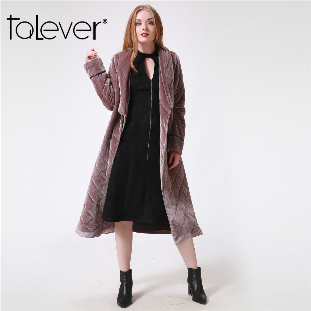2017 Winter Long Women Parka Warm Coat Casual Turn-Down Collar Pockets Plus Size Thick Cotton Female Jacket Outerwear Talever high quality thick warm wind down jacket female fashion casual cotton coat women winter coat jacket warm long outerwear overwear