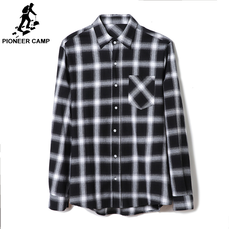 Pioneer Camp 100% Cotton black white Plaid Men Shirt Long Sleeve Casual 2019 Spring Autumn Checked Shirts For Men Comfort