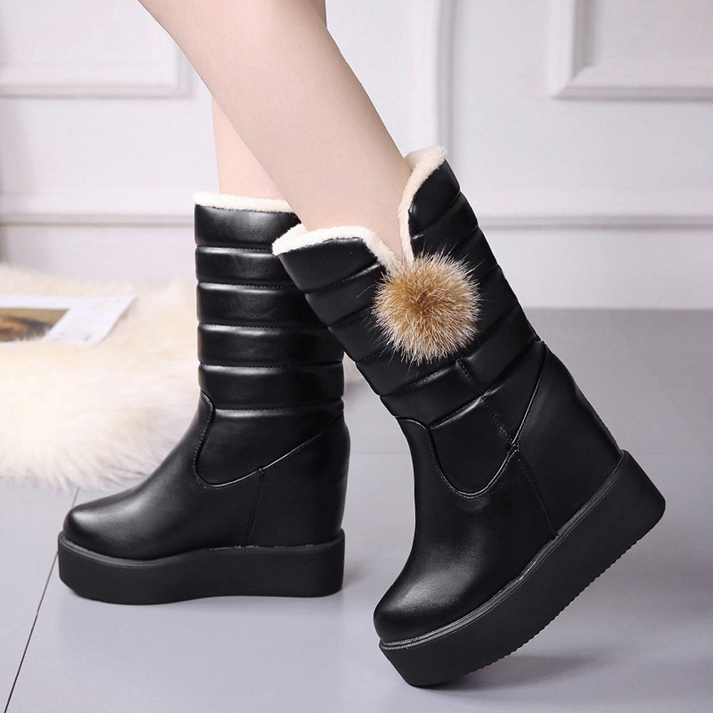 2018 Frauen Winter Schnee Stiefel Erhöhung Der Unteren Muffin Damen Stiefel Samt Warme Mid-kalb Stiefel Solide Leder Kurze Stiefel